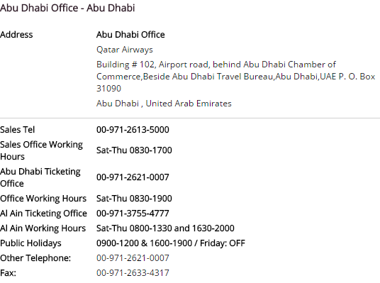 qatar airways contact number dubai abu dhabi phone number