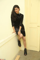 Mounika in a velvet short black dress for Tick Tack Movie Press Meet March 2017 079.JPG
