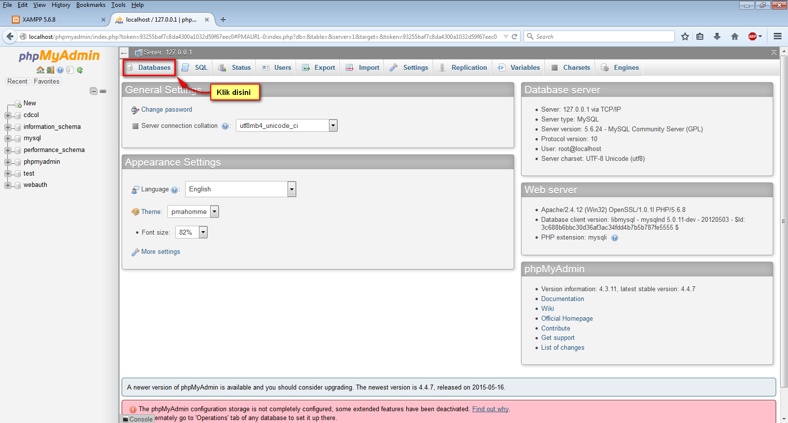 cara membuat database lewat xampp