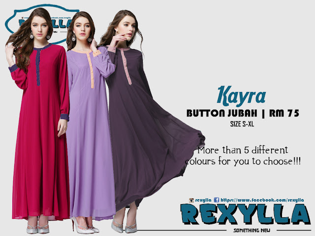 rexylla, button jubah, classic button jubah, kayra collection