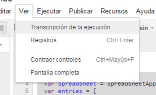 Transcripción de ejecución