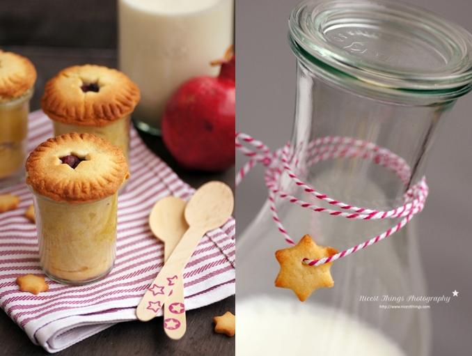 Pie in Weckgläsern und Weck Milchflasche