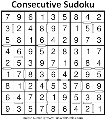 Answer of Consecutive Sudoku Puzzle (Fun With Sudoku #375)