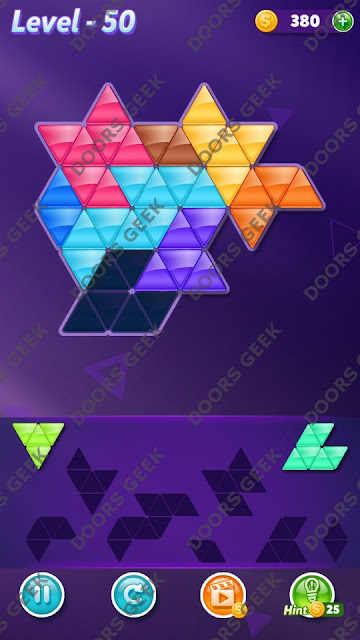 Block! Triangle Puzzle 8 Mania Level 50 Solution, Cheats, Walkthrough for Android, iPhone, iPad and iPod