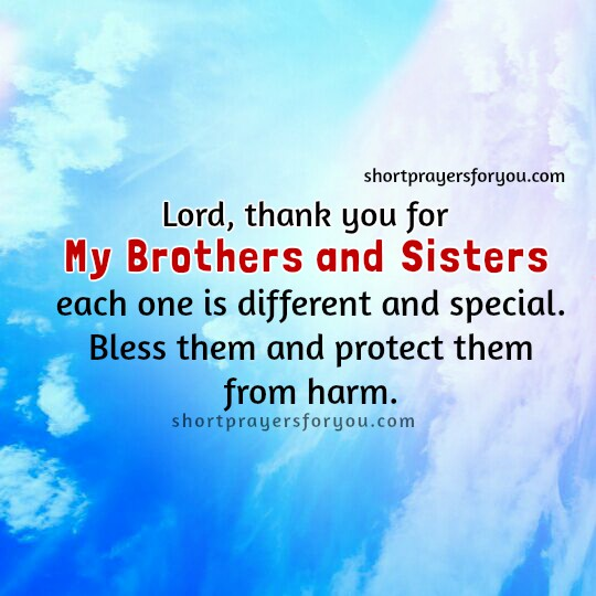 Short prayer for brothers and sisters.Free image with prayer for brothers by Mery Bracho