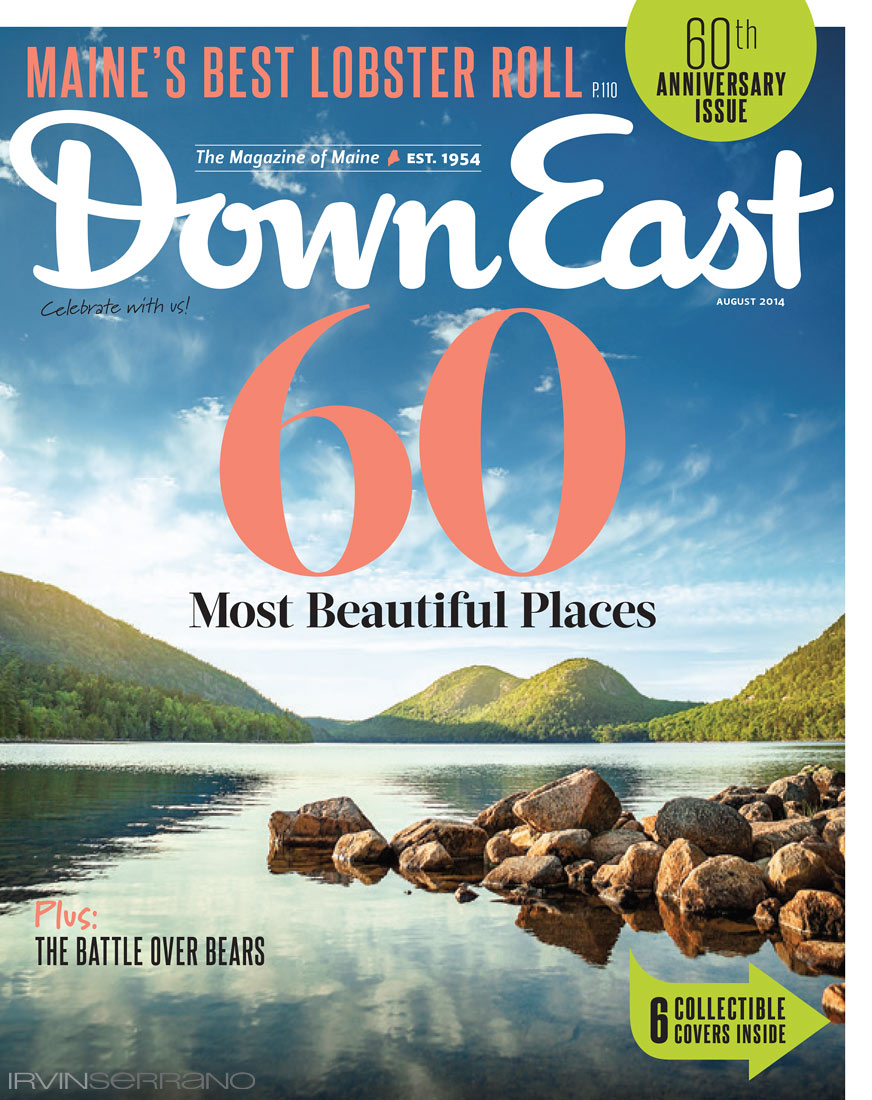 The cover of Down East Magazine's 60th anniversary issue featuring 60 most beautiful places and photograph by Irvin Serrano Photography.