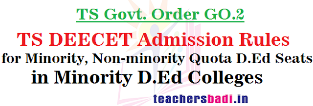 TS DEECET,Admission Rules,Minority Non-minority D.Ed Seats