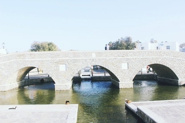 Naoussa town in Paros, photos of the bridge