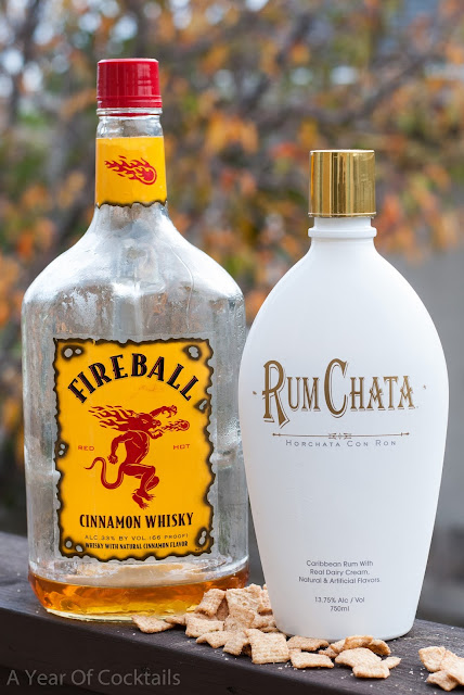 cinnamon toast crunch shot, rum chata, fireball, cinnamon whisky