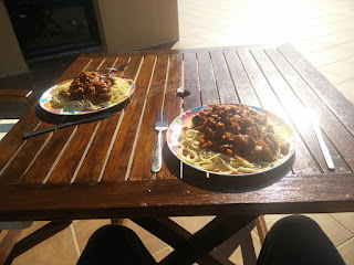 Spag boll on the balcony