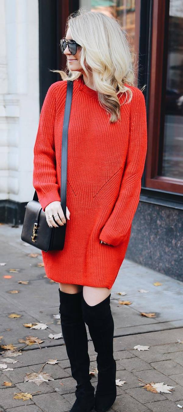 red and black fall outfit