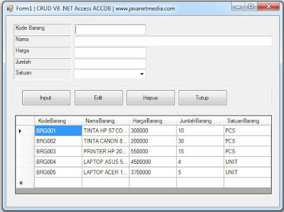Membuat CRUD VB .NET Database Access ACCDB