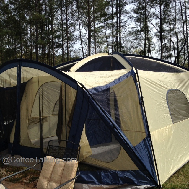 A shot of the whole tent - put up and ready (except I didnu0027t bother putting a tarp down or securing the bottom of the porch as this was the initial test ... & Itu0027s Just the Coffee Talking: Review of the Ozark 12 Person 2 ...