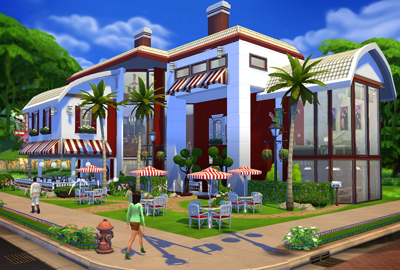 Red Amp White Restaurant Bar Sims 4 Houses
