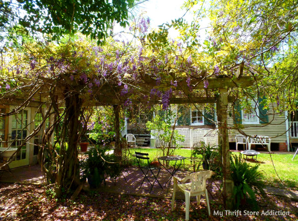 Little Chapel in the Woods: Bide-A-While Retreat Part 2 mythriftstoreaddiction.blogpsot.com Wisteria laden pergola near the main house