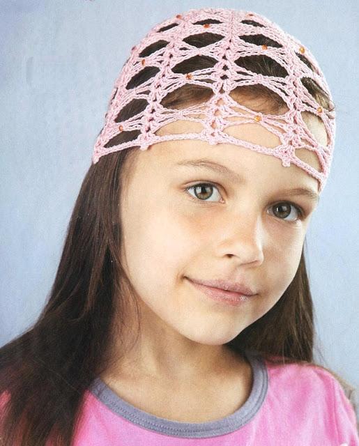 Розовая шапочка со стразами. Hat with rhinestones