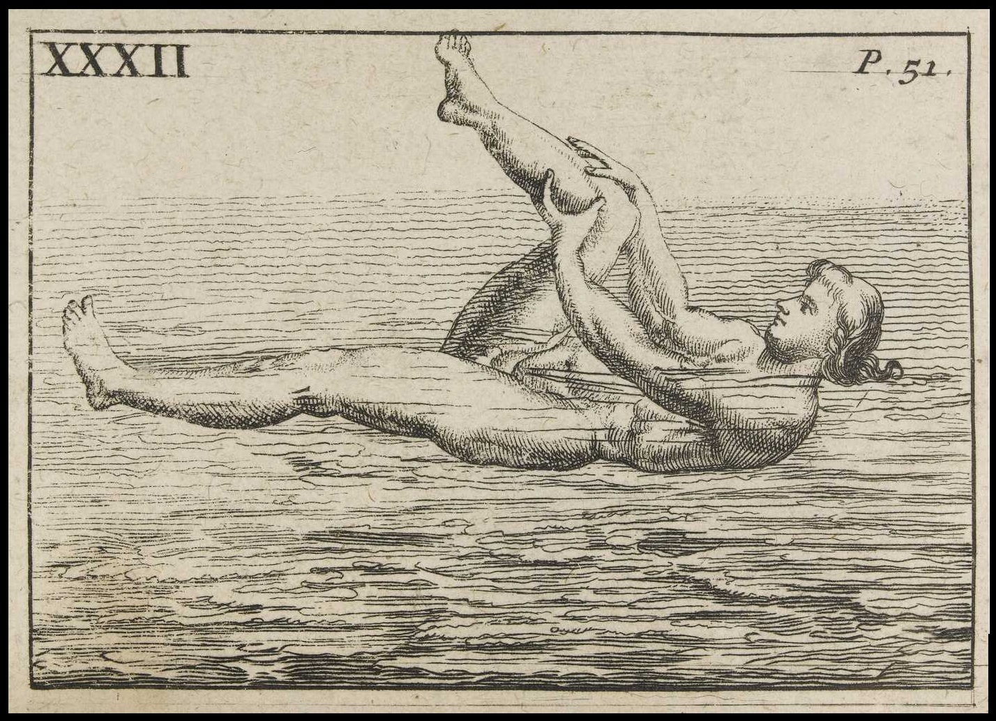 drawing of naked swimmer on back holding one leg out of water