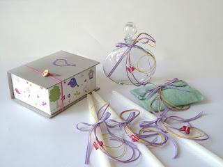 κεράκια λαδοσέτ κουτί μαρτυρικών πουλάκια καρδουλες βάπτιση κοριτσάκι