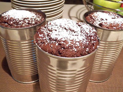 Double Chocolate Bread in a Can, bread unmolded and stacked on plate