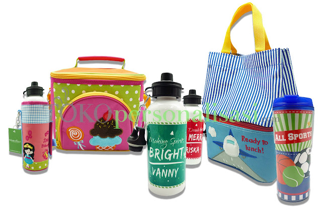 Kumpulan dari perlengkapan makanan (botol, tas makan, tumbler) yang dapat di custom bordir atau print nama