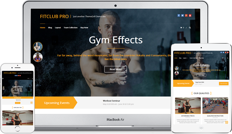 FitClub Responsive Gym Fitness WordPress Theme Free Download