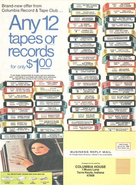 Columbia House advert. Any 12 tapes or records for only $1. As Seen on TV and other stories of marketing the American Dream. marchmatron.com