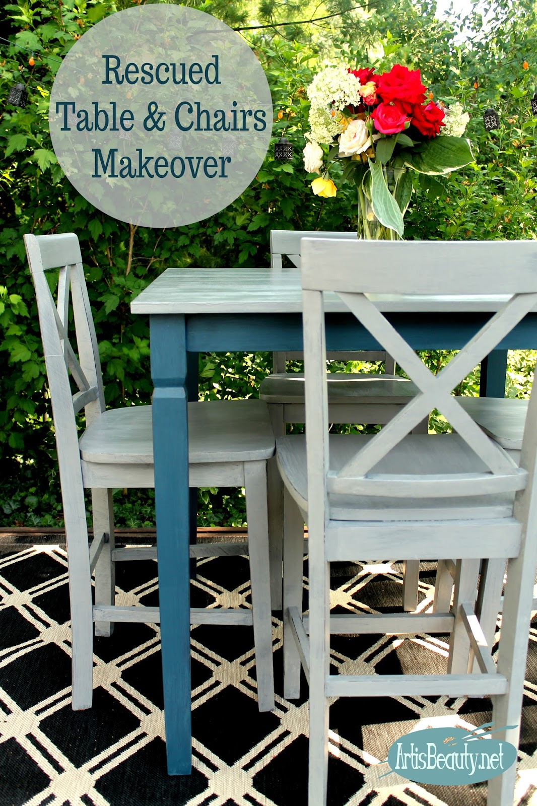 Awesome funky farmhouse boho chic rescued table and chairs painted makeover diy bohemian