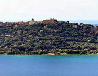 Castel Gandolfo sits atop a hill overlooking Lago Albano