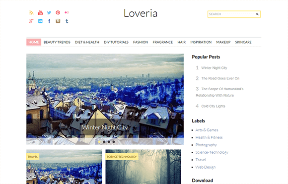 Loveria Grid  Blogger template Free responsive