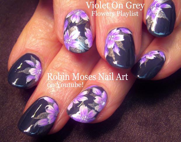 nail art robin moses flower