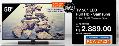Pré Black Friday TV 58 Samsung