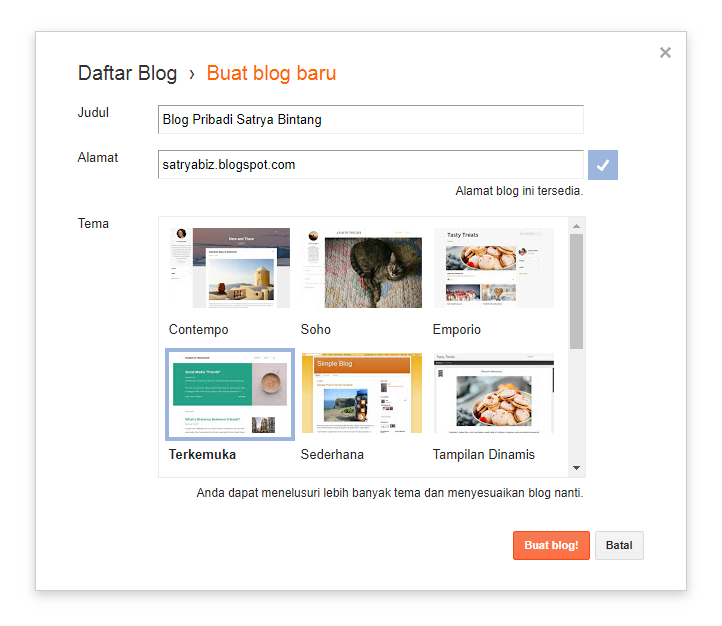 Membuat Alamat Blog Anda