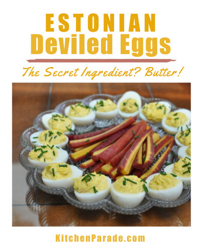 Estonian Deviled Eggs ♥ KitchenParade.com, ultra-soft and ultra-creamy with a buttery filling.