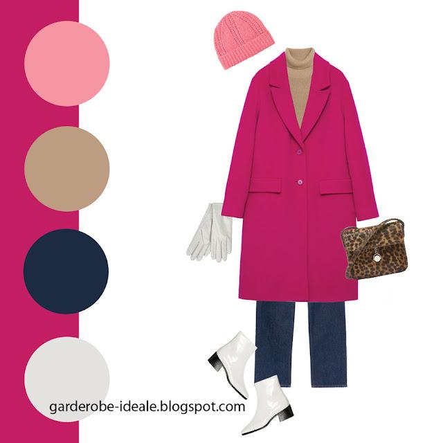 Сочетание розового пальто фуксии с леопардовой сумкой и белыми ботинками