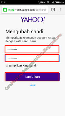 cara mengganti password yahoo mail lewat hp