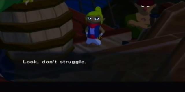 The Legend of Zelda The Wind Waker Tetra don't struggle Link barrel