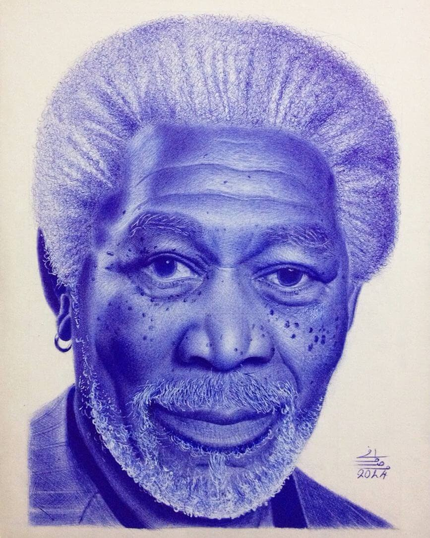 01-Morgan-Freeman-Mostafa-Khodeir-Celebrities-and-Non-Ballpoint-Pen-Portraits-www-designstack-co