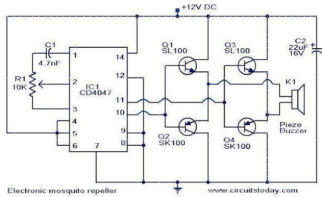 Circuit Schematic Diagram Electronic Mosquito Repeller