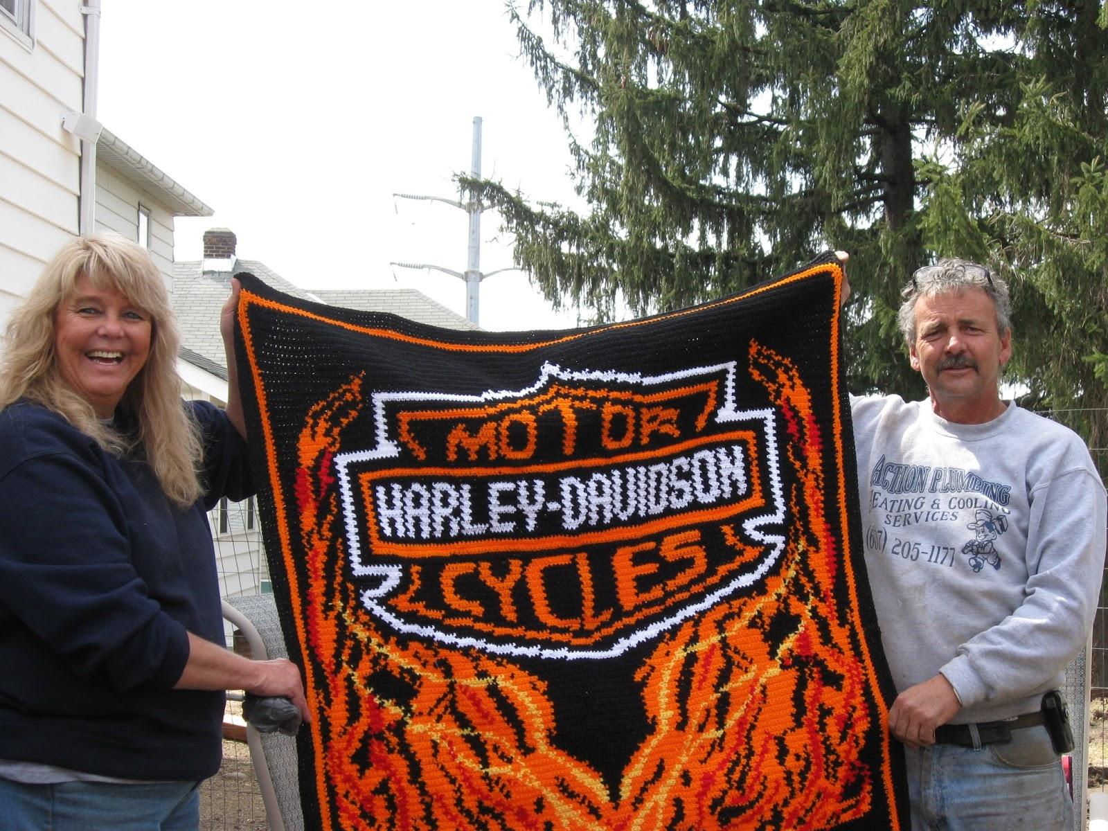 Crochet Parfait Finished Harley Davidson Afghan