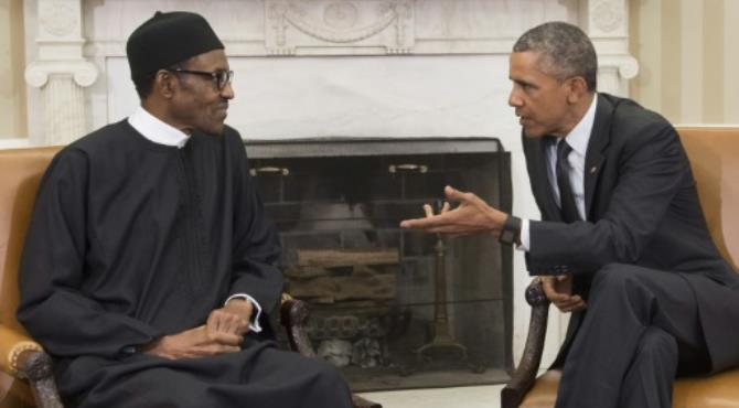 "US President Barack Obama speaks with his Nigerian counterpart Muhammadu Buhari during a 2015 meeting at the White House. By Saul Loeb (AFP). Lagos (AFP) - Nigerian President Muhammadu Buhari has come under fire from critics after admitting part of his recent ""Change Begins With Me"" speech was copied from US President Barack Obama's 2008 victory speech."