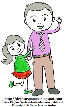 Dibujo de un Padre con su hija. Dibujo de un padre hecho por Jesus Gómez