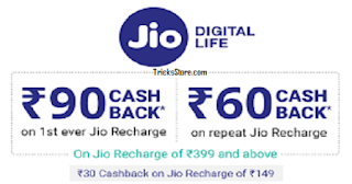 New Jio Recharge Cashback offer