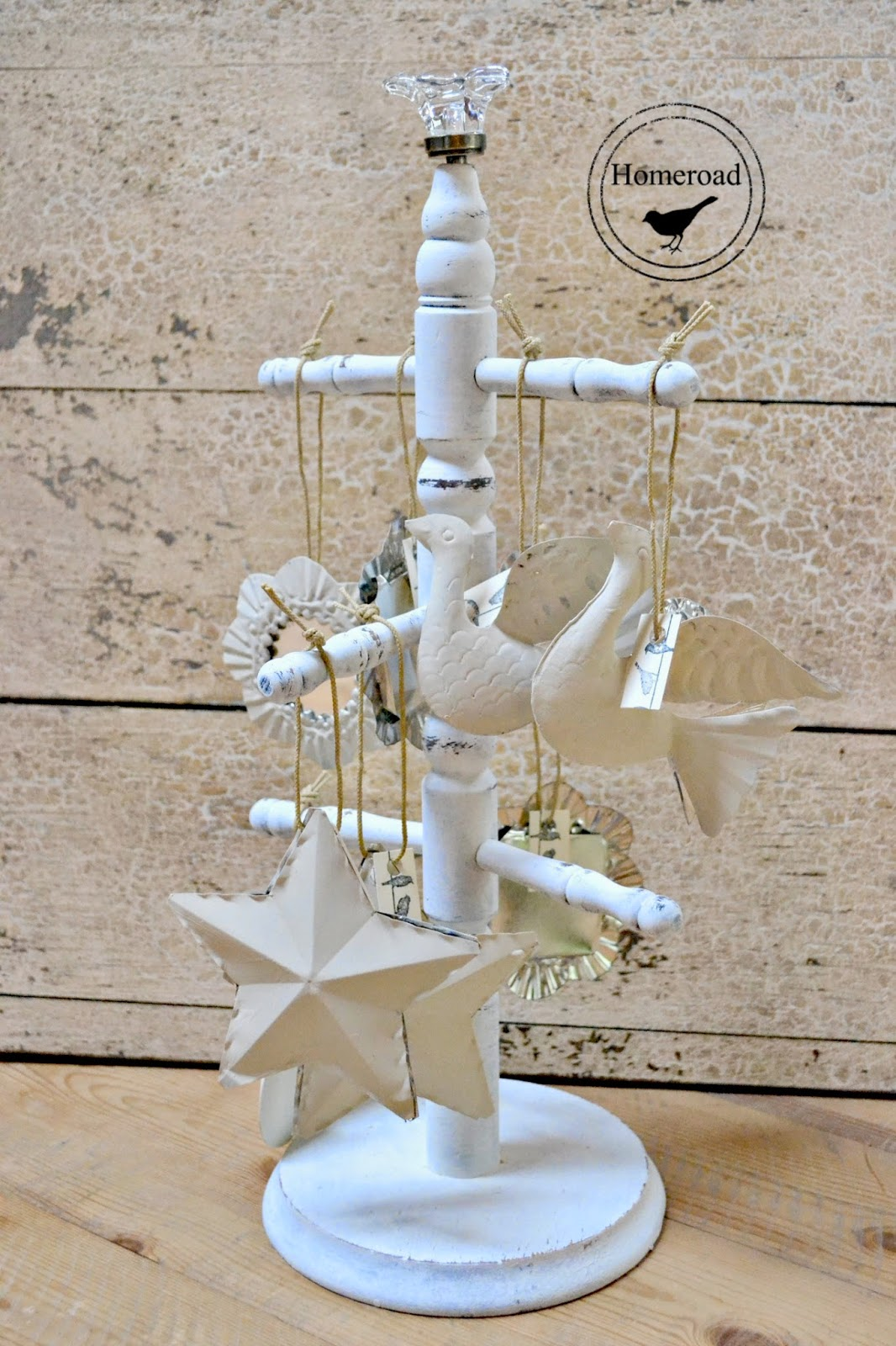 Chalk Painted Metal Christmas Ornaments