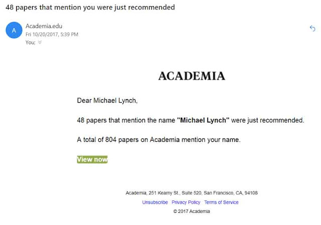 48 mentions, Michael Lynch, Academia, email, screenshot
