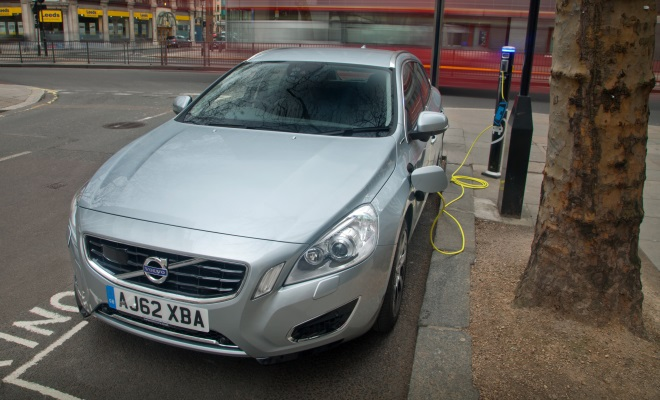 Volvo V60 PHEV plug-in hybrid charging from a cable