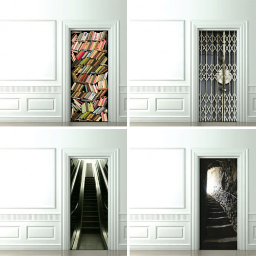 Expect The Unexpected In Life Trompe L Oeil Door Wallpaper
