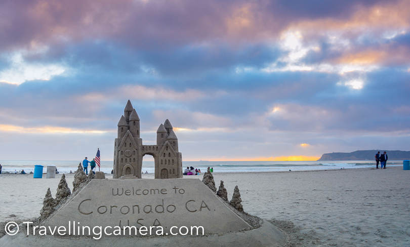 When we visited Coronado beach, a sand artist was making some art-works on the beach. His surroundings were quite busy with people clicking photographs with his creations and I noticed few kids talking to him to understand how he makes such big sand arts.