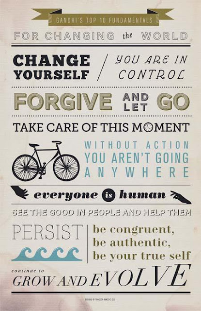 Poster - Ghandi's 10 fundamentals for changing the world