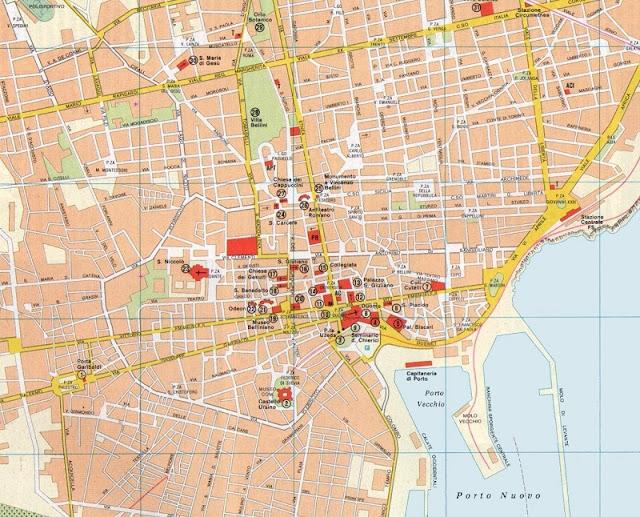 Mapa da cidade de Catania