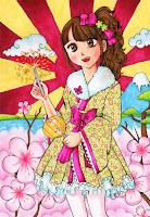 newyear japan kimono cute sakura cherryblossom